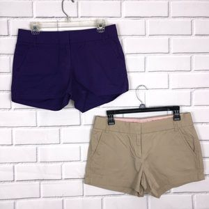 J.Crew Broken in Chino Shorts sz 4 Purple + Khaki